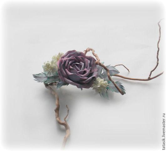 Заколки ручной работы. Ярмарка Мастеров - ручная работа. Купить Заколка автомат. Handmade. Цветы из фоамирана, пепельная роза
