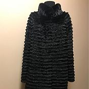 Меховое комбинированное пальто 100 см. длина