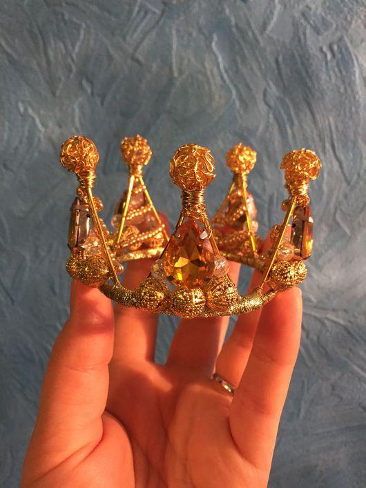 Детская бижутерия ручной работы. Ярмарка Мастеров - ручная работа. Купить Золотая мини корона. Handmade. Корона, аксессуары для фотосессий