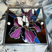 """Для дома и интерьера ручной работы. Ярмарка Мастеров - ручная работа Часы на зеркале """"Ирисы"""". Handmade."""