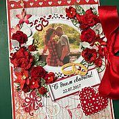 Открытки ручной работы. Ярмарка Мастеров - ручная работа Открытка свадебная в красных тонах. Handmade.