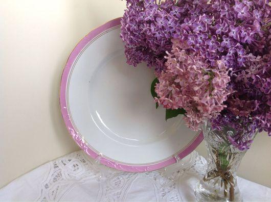 Винтажная посуда. Ярмарка Мастеров - ручная работа. Купить Тарелка. Кузнецов. Красивый рельеф и розовый кант. 25,5 см.. Handmade.