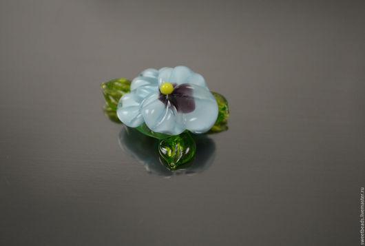 Для украшений ручной работы. Ярмарка Мастеров - ручная работа. Купить Цветок крупный лампворк, голубой. Handmade. Бусины цветы