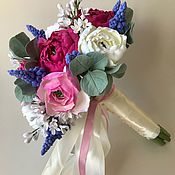 Свадебный салон handmade. Livemaster - original item Bridal bouquet with Ranunculus, lilac and Muscari.. Handmade.