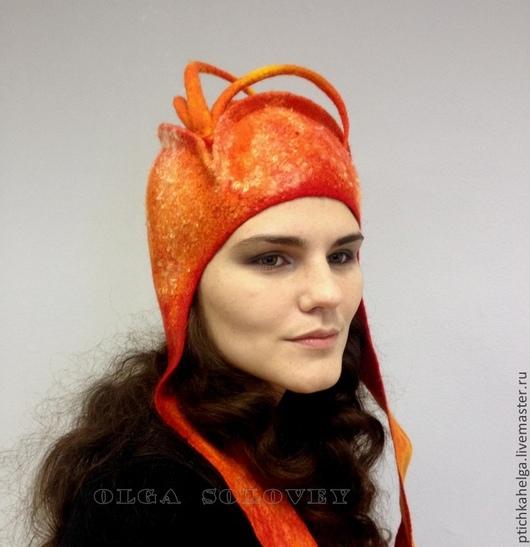 Шляпы ручной работы. Ярмарка Мастеров - ручная работа. Купить шляпка валяная  5-Й ЭЛЕМЕНТ. Handmade. Шляпка, огонь