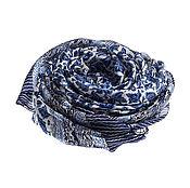 Аксессуары ручной работы. Ярмарка Мастеров - ручная работа Шелковое парео серебряного цвета с фиолетово-синим узором. Handmade.