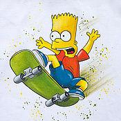Одежда ручной работы. Ярмарка Мастеров - ручная работа Футболка с росписью Барт Симпсон. Handmade.