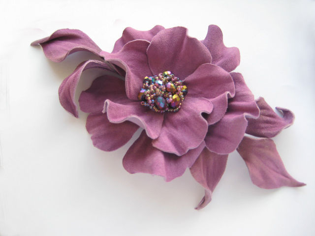 jewelry leather flower brooch made of leather, leather brooch flower, hair pin with flower, leather goods, hair accessories, lilac flower brooch leather brooch,pink flower brooch made of leather