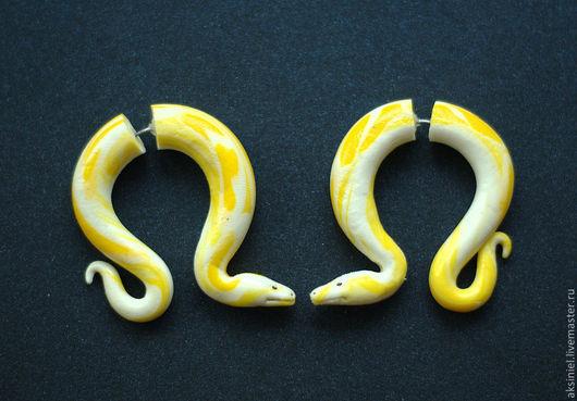 """Готика ручной работы. Ярмарка Мастеров - ручная работа. Купить Серьги обманки """" Змеи питоны"""". Handmade. Серьги, тоннели"""