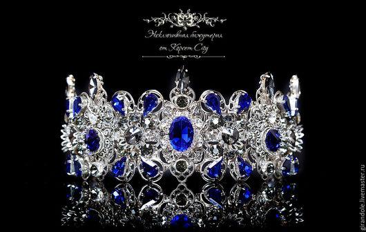 """Диадемы, обручи ручной работы. Ярмарка Мастеров - ручная работа. Купить Тиара-корона для волос """"Снежная королева"""" в стиле DOLCE&GABBANA синяя. Handmade."""