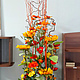 Вазы ручной работы. Ярмарка Мастеров - ручная работа. Купить композиция  из искусственных цветов. Handmade. Оранжевый, подсолнухи, маки, ветки