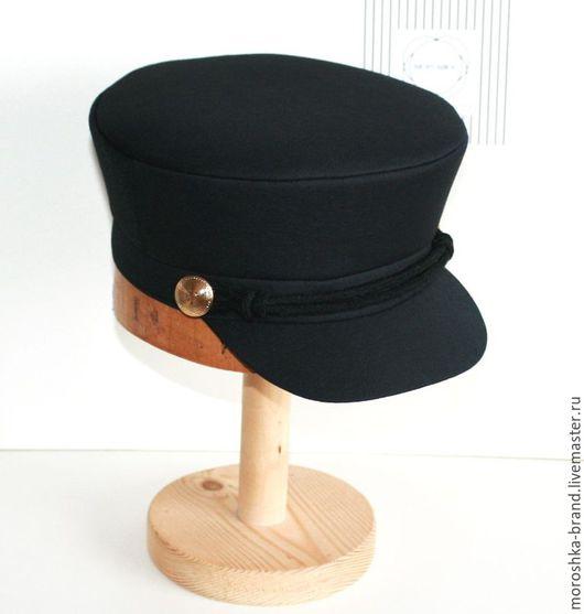 Кепки ручной работы. Ярмарка Мастеров - ручная работа. Купить Чёрная кепи. Картуз со шнуром. Handmade. Однотонный