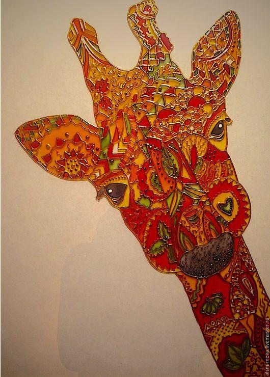 Животные ручной работы. Ярмарка Мастеров - ручная работа. Купить картина на стекле, витражная роспись - Оранжевый жираф.. Handmade. Оранжевый
