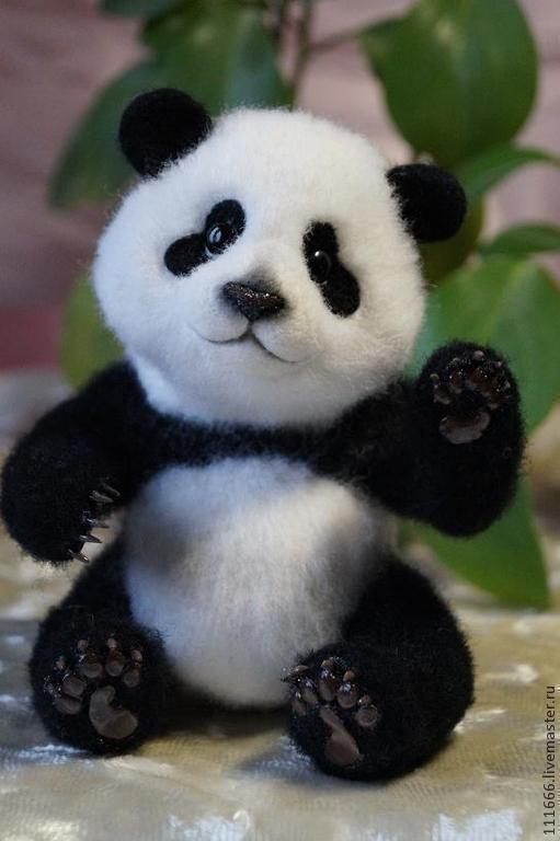 """Игрушки животные, ручной работы. Ярмарка Мастеров - ручная работа. Купить Войлочная игрушка """"Панда"""". Handmade. Чёрно-белый"""