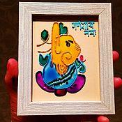 handmade. Livemaster - original item Ganesha stained glass painting. Handmade.