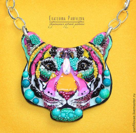 Колье, бусы ручной работы. Ярмарка Мастеров - ручная работа. Купить Радужный тигр. Handmade. Колье, голова тигра, радужный