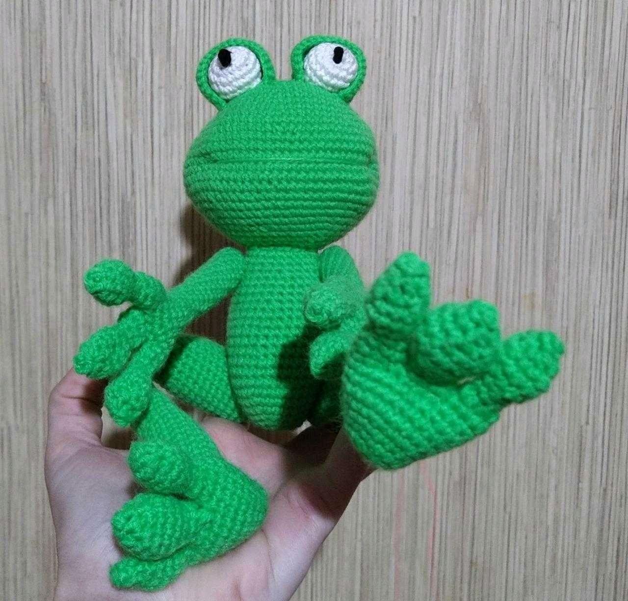 Лягушка, вязаная игрушка, Мягкие игрушки, Краснодар,  Фото №1