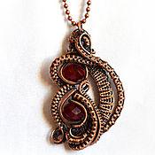Украшения handmade. Livemaster - original item Copper wire wrap pendant with glass beads. Handmade.