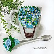 Mugs handmade. Livemaster - original item Delicious Mug balloon with flowers made of polymer clay. Handmade.