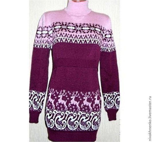 Для будущих и молодых мам ручной работы. Ярмарка Мастеров - ручная работа. Купить Платье-свитер вязаное для кормления Скандинавская метелица 2. Handmade.
