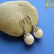 Украшения handmade. Livemaster - original item Earrings of white agate. Handmade.