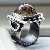 Украшения ручной работы. Ярмарка Мастеров - ручная работа Кольцо серебро Mirror: серебро, золото, рутиловый кварц. Handmade.