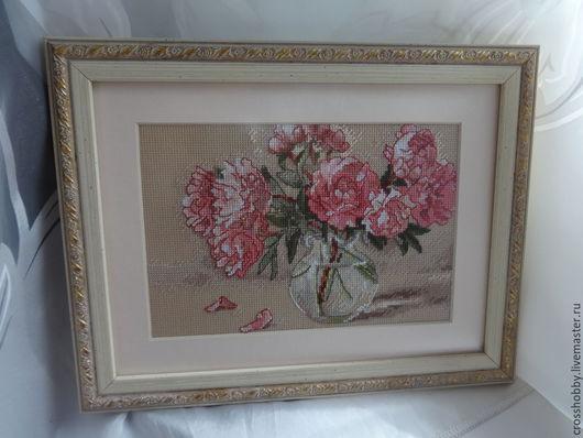 """Картины цветов ручной работы. Ярмарка Мастеров - ручная работа. Купить картина вышитая крестиком """"Пионы"""". Handmade. Розовый, весна"""