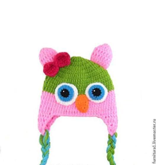 """Шапки и шарфы ручной работы. Ярмарка Мастеров - ручная работа. Купить Детская шапочка """"Сова"""" (шапка теплая зимняя вязаная с ушками). Handmade."""