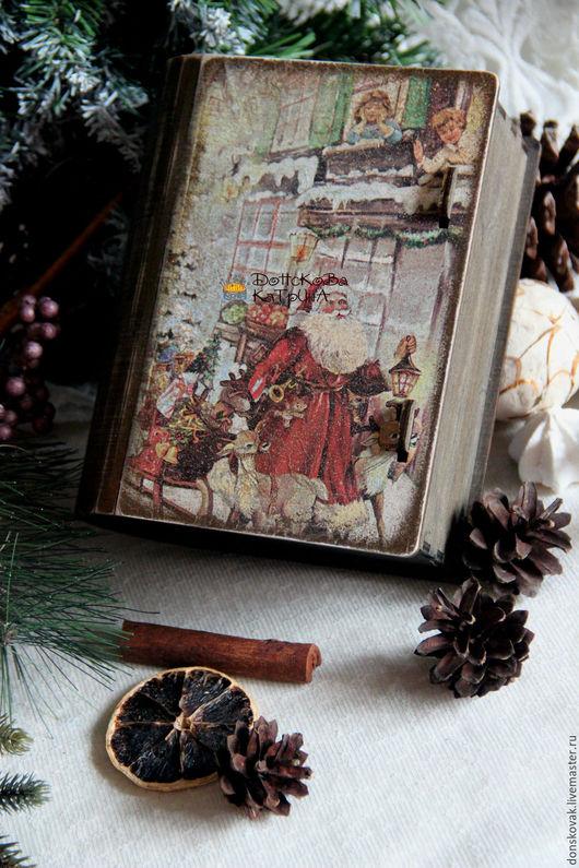 Новый год 2017 ручной работы. Ярмарка Мастеров - ручная работа. Купить Новогодняя сказка ( старый короб-книга). Handmade.