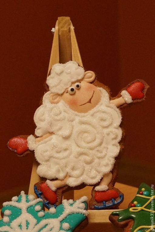 Персональные подарки ручной работы. Ярмарка Мастеров - ручная работа. Купить Пряничная овечка - фигуристка. Handmade. Овечка, подарок, коньки