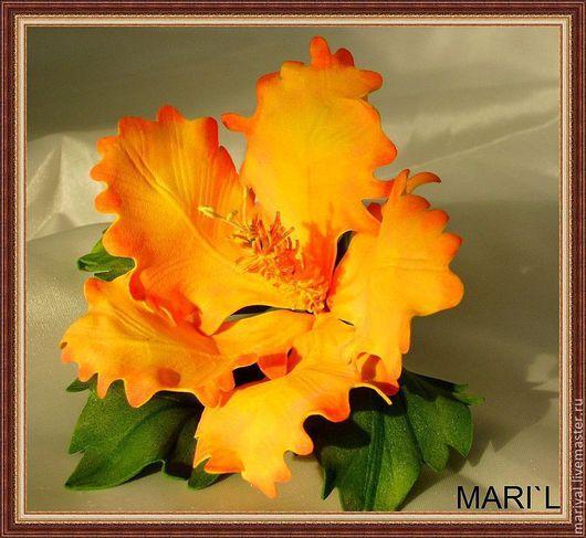 """Броши ручной работы. Ярмарка Мастеров - ручная работа. Купить Брошь """"Солнечный цветок гибискуса"""". Handmade. Желтый, фом"""