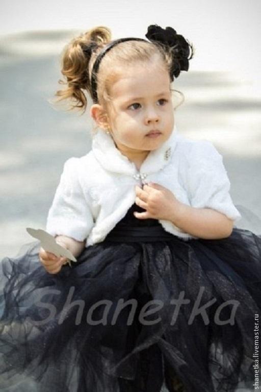 """Одежда для девочек, ручной работы. Ярмарка Мастеров - ручная работа. Купить Болеро меховое для девочки  """"Зайчонок"""". Handmade. Белый, шанетка"""