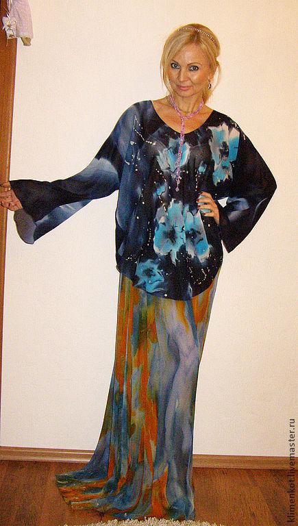 Блузки ручной работы. Ярмарка Мастеров - ручная работа. Купить блуза-  Бирюзовые маки. Handmade. Черный, ручная роспись