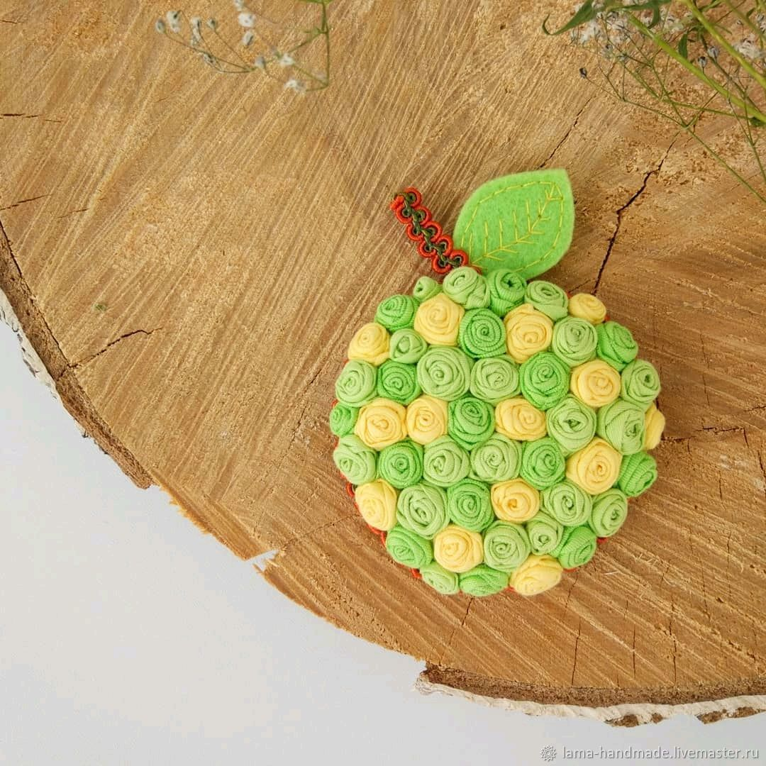 Brooch textile Apple, Brooches, Izhevsk,  Фото №1