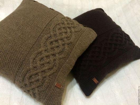 Текстиль, ковры ручной работы. Ярмарка Мастеров - ручная работа. Купить Подушка вязаная с орнаментом (1). Handmade. Хаки
