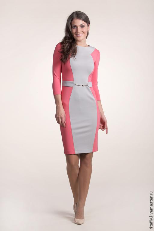 Платья ручной работы. Ярмарка Мастеров - ручная работа. Купить платье футляр из джерси 035. Handmade. Бледно-розовый, платье