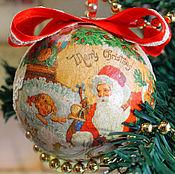 Christmas decorations handmade. Livemaster - original item Vintage Christmas balls New Year decoupage. Handmade.