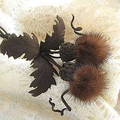 Украшения handmade. Livemaster - original item Leather flowers . Decoration brooch pin THISTLE BROWN suede. Handmade.