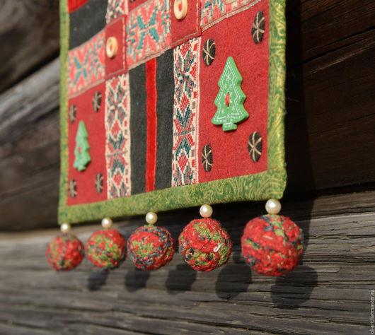 """Текстиль, ковры ручной работы. Ярмарка Мастеров - ручная работа. Купить Текстильное панно """"Ёлочки"""". Handmade. Ярко-красный, лён"""