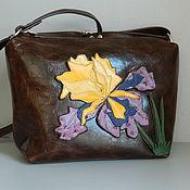 Сумки и аксессуары handmade. Livemaster - original item Leather bag. Shoulder bag hobo medium brown iris. Handmade.