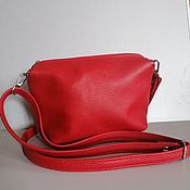Сумки и аксессуары handmade. Livemaster - original item Leather bag. Crossbody bag. Puglias. Red. Handmade.