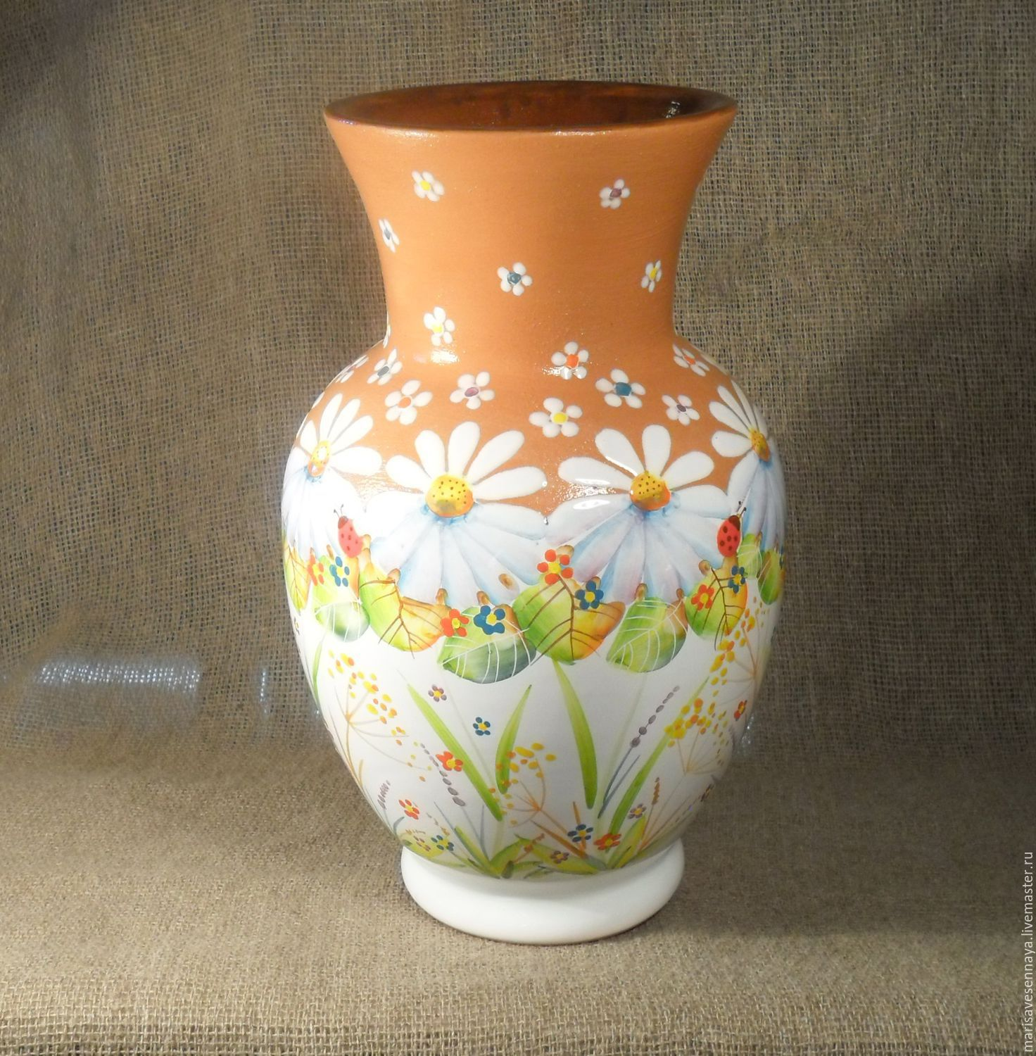 Vase painted pottery shop online on livemaster with for Pottery designs with clay