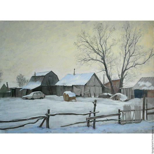 """Пейзаж ручной работы. Ярмарка Мастеров - ручная работа. Купить Картина акварель """"Зимний пейзаж"""". Handmade. Белый, картина акварелью"""