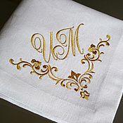 Для дома и интерьера ручной работы. Ярмарка Мастеров - ручная работа Вышитые салфетки 4222 Свадебный вензель ИМ. Handmade.