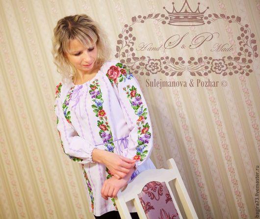 """Блузки ручной работы. Ярмарка Мастеров - ручная работа. Купить """"Весенние цветы"""". Handmade. Разноцветный, блузка из хлопка, Вышиванка, домоткань"""