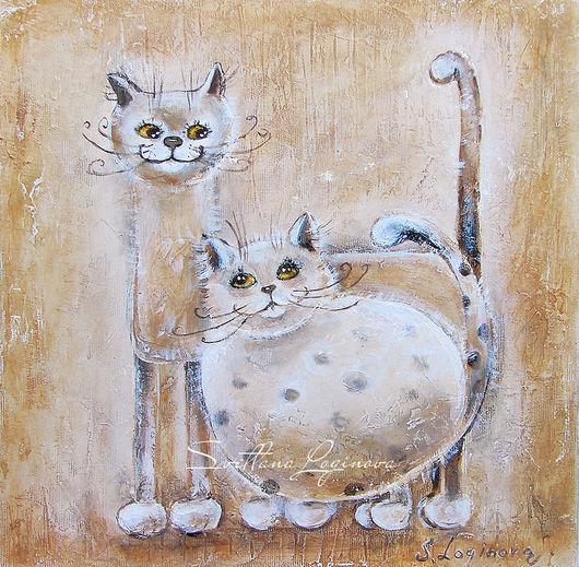 Животные ручной работы. Ярмарка Мастеров - ручная работа. Купить Моя любимая Мурра...картина маслом кошки. Handmade. Бежевый