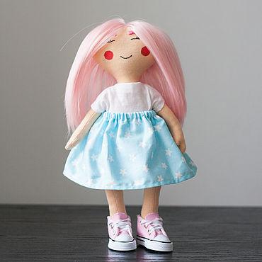 Куклы и игрушки ручной работы. Ярмарка Мастеров - ручная работа Кукла с розовыми волосами текстильная. Кукла ручной работы. Handmade.