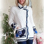 """Одежда ручной работы. Ярмарка Мастеров - ручная работа Жакет вязаный """"Гжель"""". Handmade."""