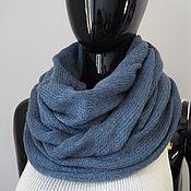 Аксессуары handmade. Livemaster - original item Snudy: Snood knitted from kid-mohair (grey-blue). Handmade.