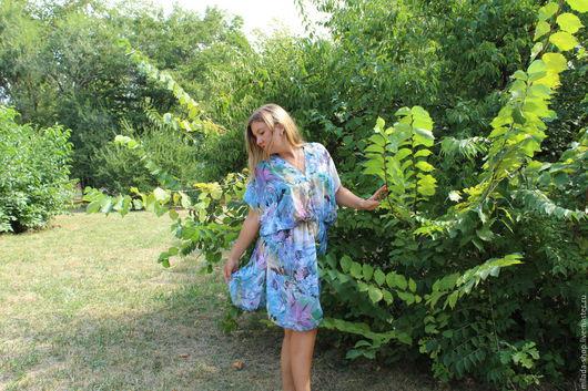 """Платья ручной работы. Ярмарка Мастеров - ручная работа. Купить Платье """"Нежность"""". Handmade. Синий, платье на выход, шибори"""